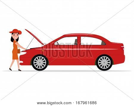 Vector illustration cartoon girl repairs red sedan car. Isolated white background. Woman opened hood of the automobile. Flat style. Broken transport and a beautiful lady.