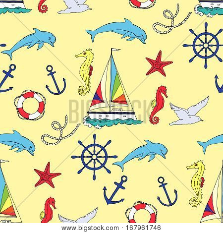 Nautical seamless pattern with ships and wheel, seahorse,  boats and dolphin. Hand drawn elements for summer holidays. Travel, marin and ocean. Vector Illustration