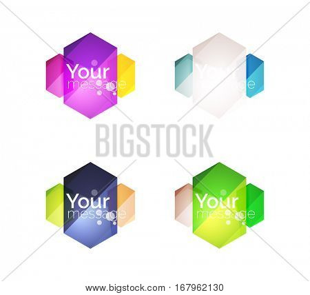 Set of vector shiny blank boxes for your content. Abstract geometric elements suitable for text or infographics