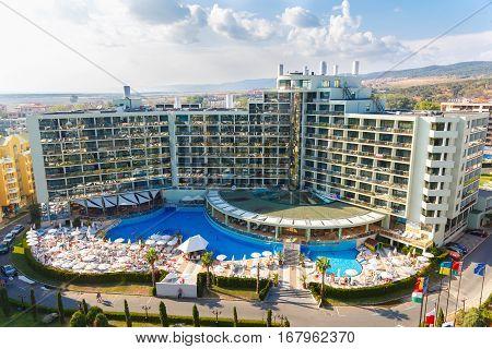 NESSEBAR, BULGARIA - AUG 28: View of the the four stars hotel Marvel in Nesebar, Bulgaria at August 28, 2016