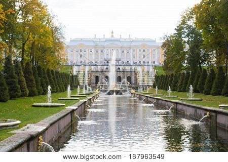 Autumn In The Park Fountains Of Peterhof