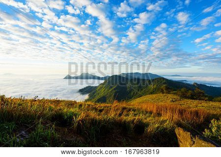 Mountain And Cloudscape At Phu Chi Fa, Chiang Rai