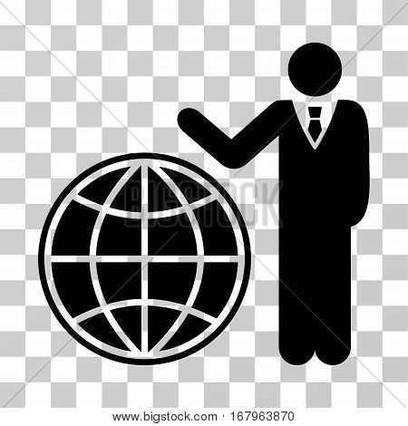 Planetary Manager icon. Vector illustration style is flat iconic symbol, black color, transparent background. Designed for web and software interfaces.