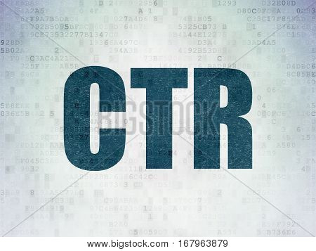 Finance concept: Painted blue word CTR on Digital Data Paper background