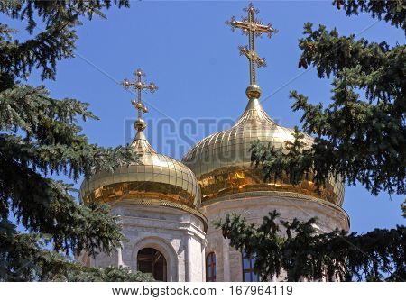 Golden domes of the Saviour Cathedral the background of blue sky,Pyatigorsk,Northern Caucasus,Russia.