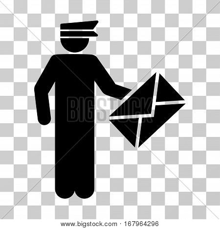 Postman icon. Vector illustration style is flat iconic symbol, black color, transparent background. Designed for web and software interfaces.