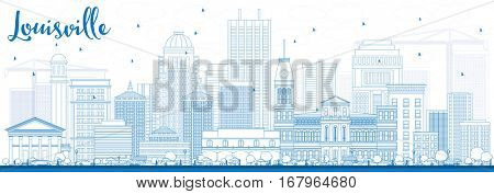 Outline Louisville Skyline with Blue Buildings. Vector Illustration. Business Travel and Tourism Concept with Modern Architecture. Image for Presentation Banner Placard and Web Site.