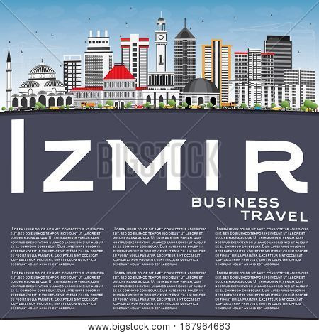 Izmir Skyline with Gray Buildings, Blue Sky and Copy Space. Vector Illustration. Business Travel and Tourism Concept with Modern Architecture. Image for Presentation Banner Placard and Web Site.