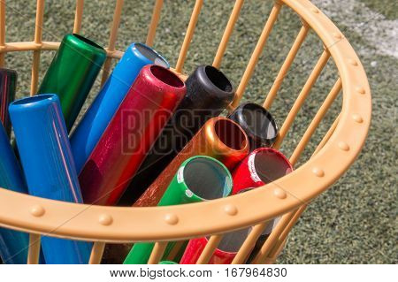 Many Colorful School Baton Of Running Preparing In A Basket For Running Competition. Running Sport E
