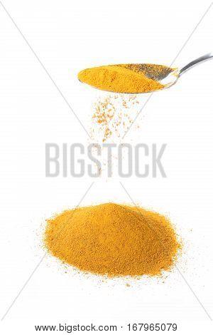 Spoon pours ground turmeric powder onto a white background.