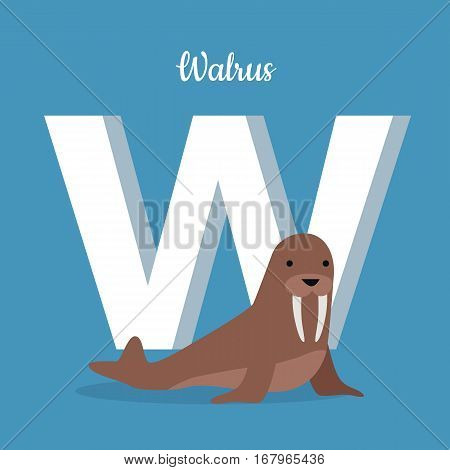 Walrus cow on ice floe with letter W isolated on blue. Large flippered marine mammal distributed about North Pole in Arctic Ocean. Part of alphabetic series with animals. ABC, alphabet. Vector