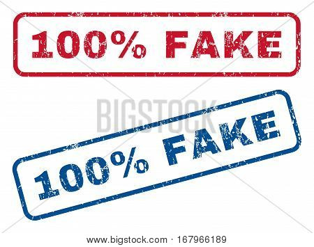100 Percent Fake text rubber seal stamp watermarks. Vector style is blue and red ink caption inside rounded rectangular banner. Grunge design and dust texture. Blue and red stickers.