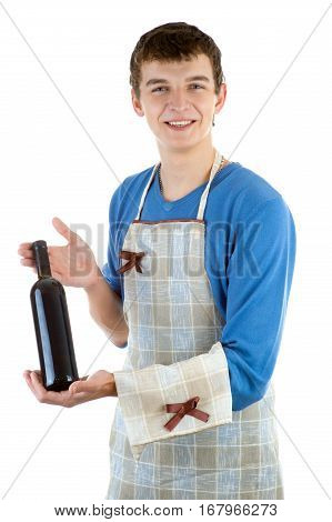The young waiter offers wine on a white background