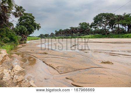 Wide angle view of Kidepo river in Uganda