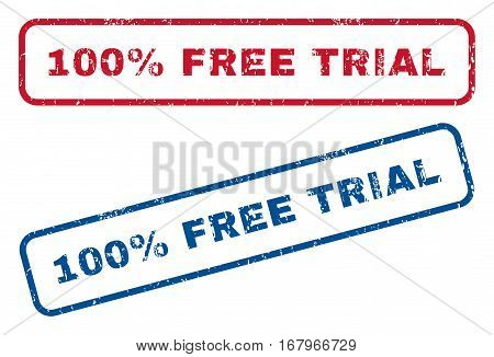 100 Percent Free Trial text rubber seal stamp watermarks. Vector style is blue and red ink caption inside rounded rectangular shape. Grunge design and unclean texture. Blue and red emblems.