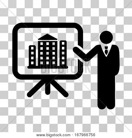 Realty Presention icon. Vector illustration style is flat iconic symbol, black color, transparent background. Designed for web and software interfaces.