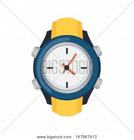 Wristwatch isolated on white background vector. Business accuracy concept luxury personal object. Analog instrument for time measurement mechanism.