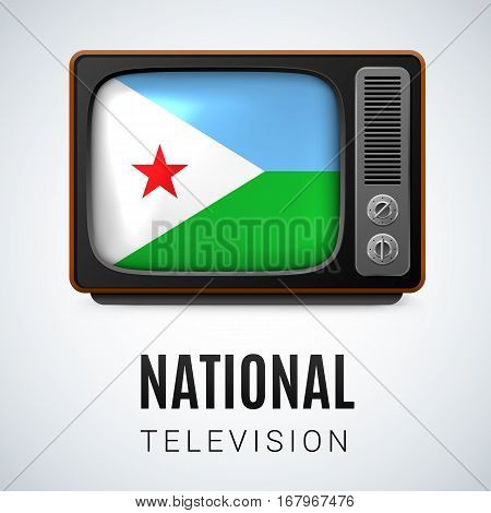 Vintage TV and Flag of Djibouti as Symbol National Television. Button with Djiboutian flag