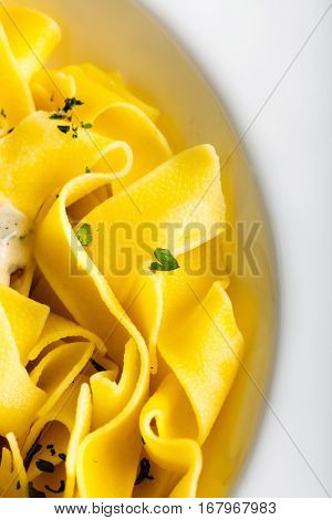 Pasta with cream sauce with chanterelle
