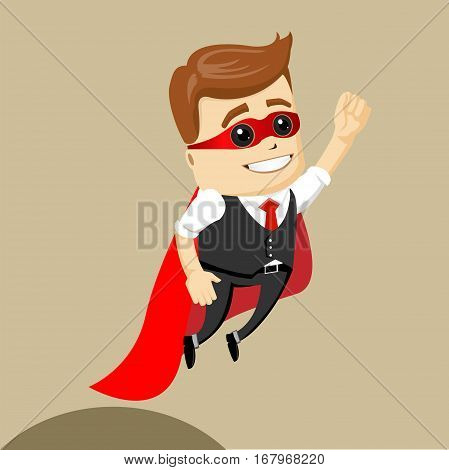 Vector businessman flying. Business man as a hero. Superhero. Illustration of cartoon businessman.