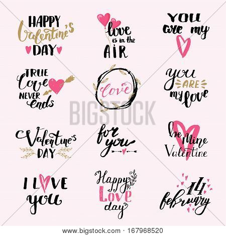 Vector I love You photo overlays, hand drawn lettering collection, inspirational quote. Lovely text I love You follow your heart romantic type.