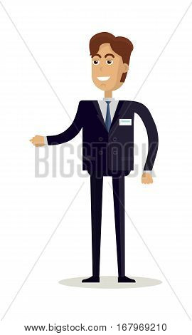 Businessman character vector. Flat design. Smiling man in business suite reaches out. Seller, assistant, manager, clerk, merchandiser, vendor, salesperson, consultant illustration. Isolated on white.