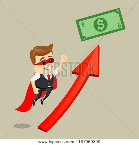 Vector businessman flying to the dollar bill. Business man as a hero. Superhero. Illustration of cartoon businessman.