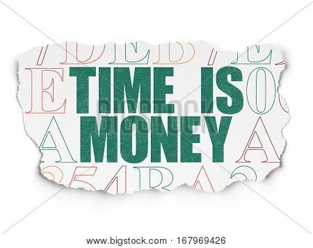 Timeline concept: Painted green text Time is Money on Torn Paper background with  Hexadecimal Code