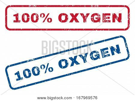 100 Percent Oxygen text rubber seal stamp watermarks. Vector style is blue and red ink tag inside rounded rectangular shape. Grunge design and scratched texture. Blue and red stickers.
