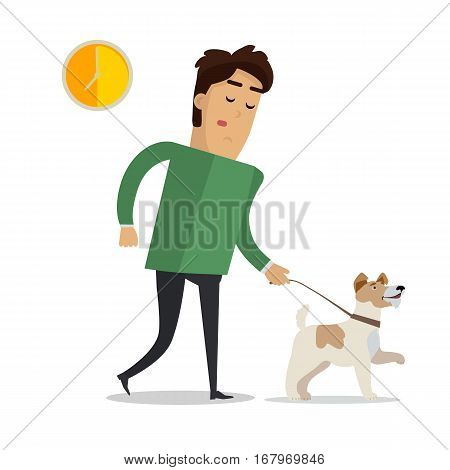 Tired man in casual clothes walking with his dog after hard working day. Businessman in trousers and green sweater having rest with his pet. Calm boy and cheerful dog. Vector illustration in flat style