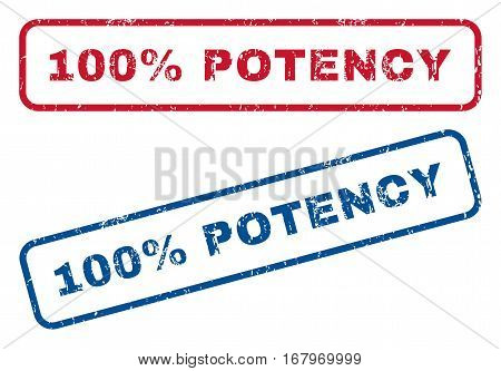 100 Percent Potency text rubber seal stamp watermarks. Vector style is blue and red ink tag inside rounded rectangular banner. Grunge design and dust texture. Blue and red emblems.