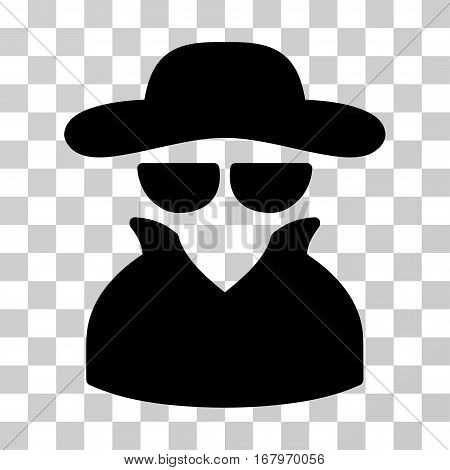 Spy icon. Vector illustration style is flat iconic symbol, black color, transparent background. Designed for web and software interfaces.