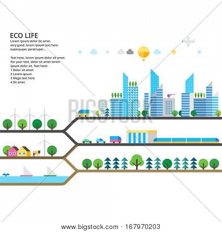 Abstract illustrations - Ecologically clean nature. Transport. Renewable energy. Ecosystem info graphics
