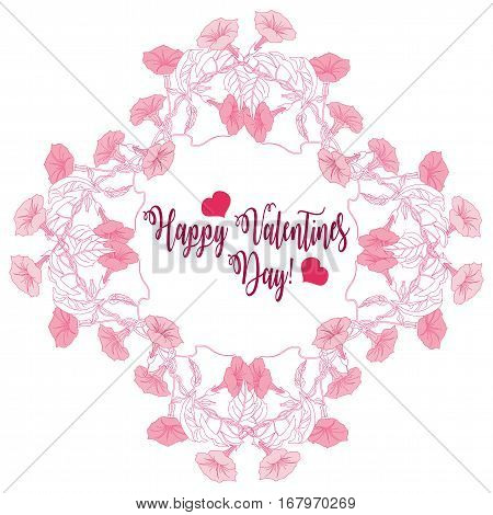 Valentines Day Background with flowers. Vector illustration
