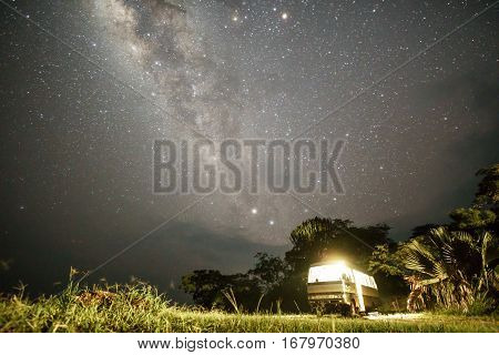 Night view of isolated van in african park