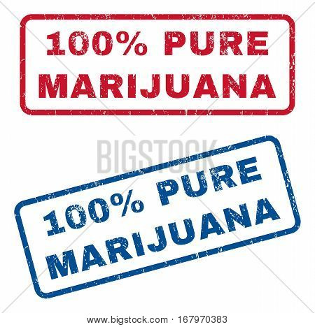 100 Percent Pure Marijuana text rubber seal stamp watermarks. Vector style is blue and red ink caption inside rounded rectangular shape. Grunge design and dust texture. Blue and red stickers.