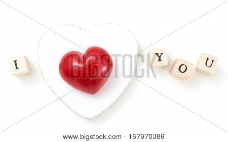 Red Heart And Wooden Cubes With I And You, On White Background. I Love You Concept.