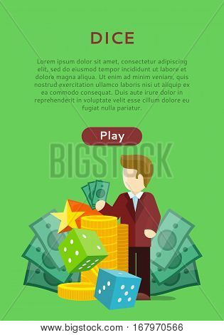 Dice casino banner. Online play concept. Cards money coins chips game dealer croupier. Gambling luck, fortune bet, risk and leisure, jackpot chance. Vector illustration in flat style design
