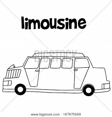 Collection of limousine car hand draw vector illustration