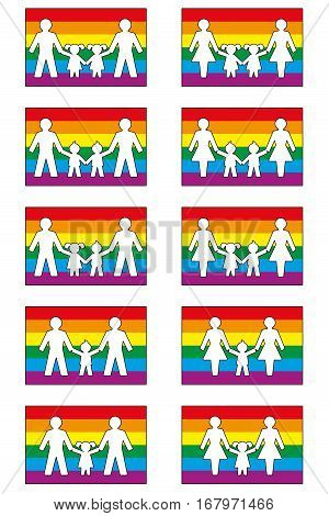 LGBT family icons on pride flag colored background - various families with homosexual parents and their daughters and sons.