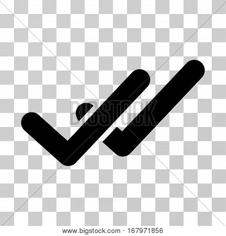 Validation icon. Vector illustration style is flat iconic symbol, black color, transparent background. Designed for web and software interfaces.