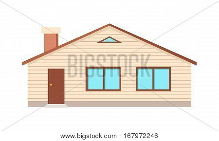 House with two windows, door and chimney isolated on white. Country village cosy home cottage. Option button to choose house cleaning on the site of cleaning service company. Vector illustration