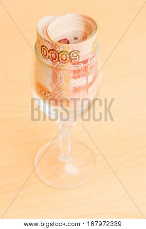 Russian Money In Denominations Of Five Thousand Rubles Rolled In The Glass
