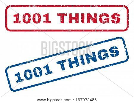 1001 Things text rubber seal stamp watermarks. Vector style is blue and red ink tag inside rounded rectangular shape. Grunge design and unclean texture. Blue and red signs.