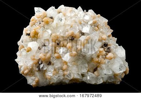 An apophyllite mineral on a black background