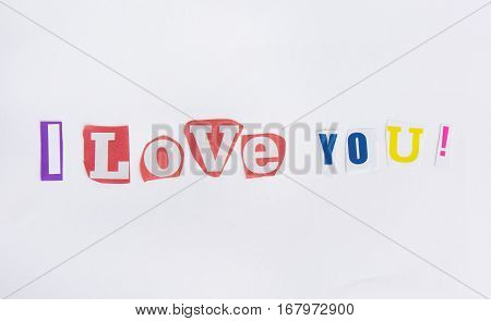 I love you from the letters cut out of newspapers isolated on white background