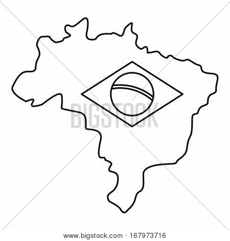Map of Brasil icon. Outline illustration of map of Brasil vector icon for web