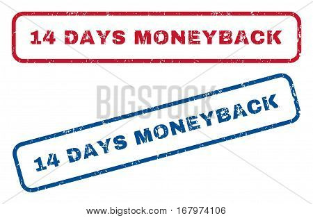 14 Days Moneyback text rubber seal stamp watermarks. Vector style is blue and red ink caption inside rounded rectangular banner. Grunge design and dust texture. Blue and red emblems.