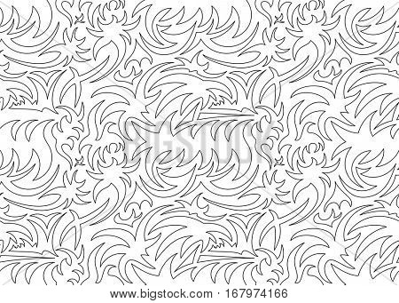 Abstract hollow seamless thorny organic pattern. vector illustration