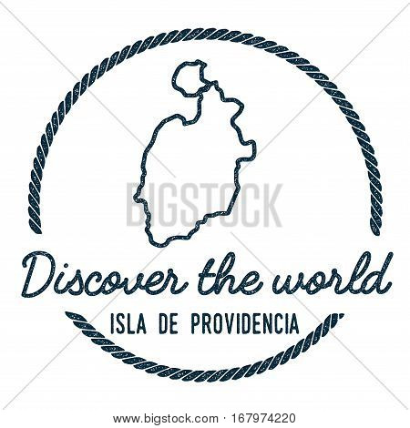 Isla De Providencia Map Outline. Vintage Discover The World Rubber Stamp With Island Map. Hipster St